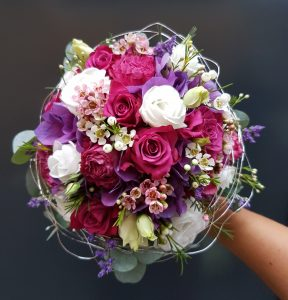 Brautstrauß lila pink